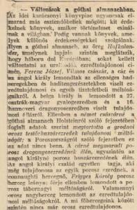 Változások a góthai almanachban.  Pesti Napló, 1914. december 13.