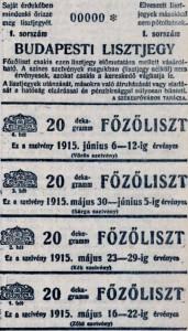 Budapesti lisztjegy, 1915