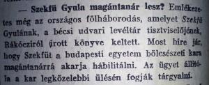 Szekfű Gyula magántanár lesz? Pesti Napló, 1915. május 20.