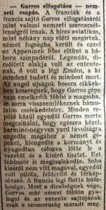 Garros elfogatása – nemzeti csapás. Az Est, 1915. április 26.