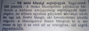 Nő mint községi segédjegyző. Pesti Napló, 1915. augusztus 18.