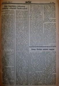 Molnár Ferenc: Egy kapitány jelentése néhány sikerült hadicselről.  Az Est, 1915. május 2.