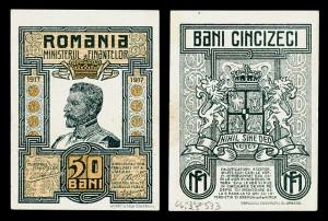 50 banis pénzjegy I. Ferdinánd román királlyal