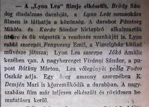 """A """"Lyon Lea"""" filmje elkészült. Pesti Napló, 1915. szeptember 19."""