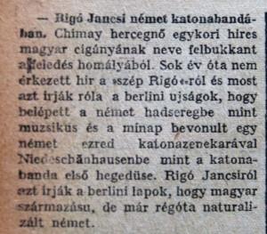 Rigó Jancsi német katonabandában. Az Est, 1915. október 16.