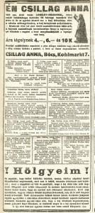 Csillag Anna. Apróhirdetés. Pesti Hírlap, 1915