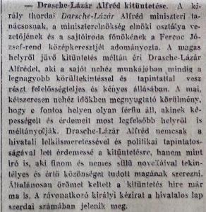 Drasche-Lázár Alfréd kitüntetése. Pesti Napló, 1916. január 19.