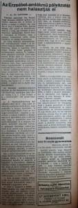 Az Erzsébet-emlékmű pályázatát nem halasztják el. Az Est, 1916. március 1.