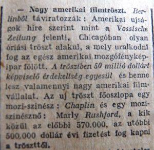 Nagy amerikai filmtröszt. Az Est, 1916. április 23.