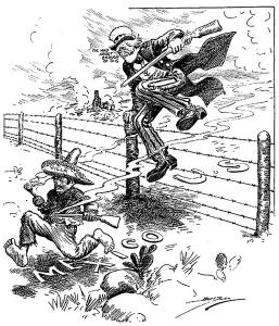 """Uncle Sam üldözi Pancho Villát """"Ebből elegem van"""" felkiáltással, 1916 (wikipedia)"""
