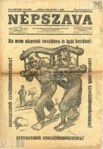 Szavazásra buzdítanak Biró igába fogott figurái, 1926 (Forrás: PIL)