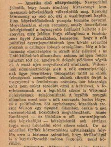 Amerika első női képviselője. Pesti Napló, 1916. november 13.