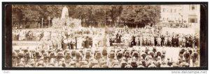 Ünnepség a karánsebesi Ferenc József-szobornál, 1916 (képeslap)