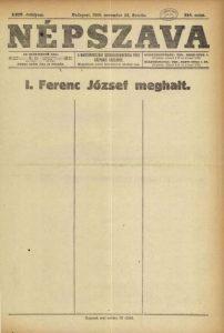 A Népszava cenzúrázott vezércikke Ferenc József halála alkalmával (1916. november 22.)