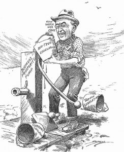 Woodrow Wilson trösztellenes törvényekkel, új vámtarifával segíti a gazdaságot (Karikatúra, 1913)